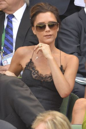 Victoria Beckham at the Wimbledon Men's Final, Louis Vuitton dress