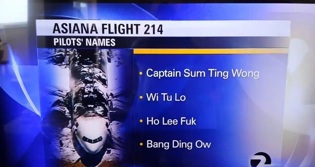 News cast from KTVU News in Oakland CA. Asiana flight pilots names.