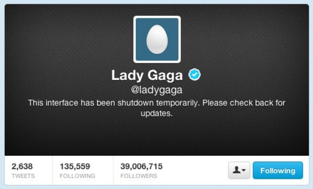"Lady GaGa Twitter ""shutdown"" screen grab."