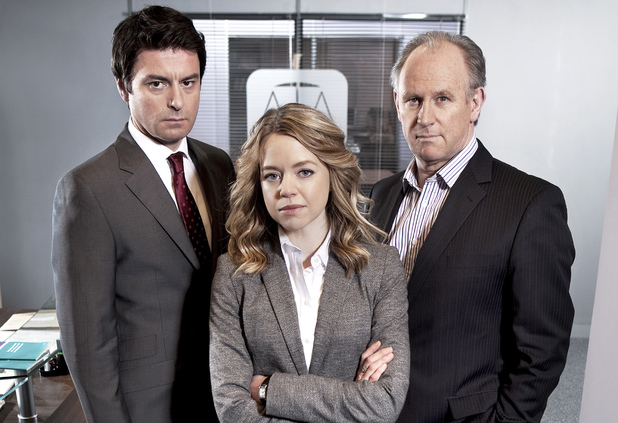 Dominic Rowan as Jacob Thorne, Georgia Taylor as Kate Barker and Peter Davison as Henry Sharpe in 'Law & Order: UK'