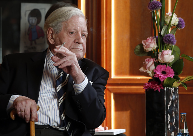 Helmut Schmidt, former chancellor of West Germany, smokes a menthol cigarette ~~ May 27, 2013