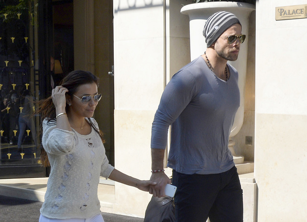 Eva Longoria and boyfriend Ernesto Arguello leave the Four Seasons Hotel in Paris