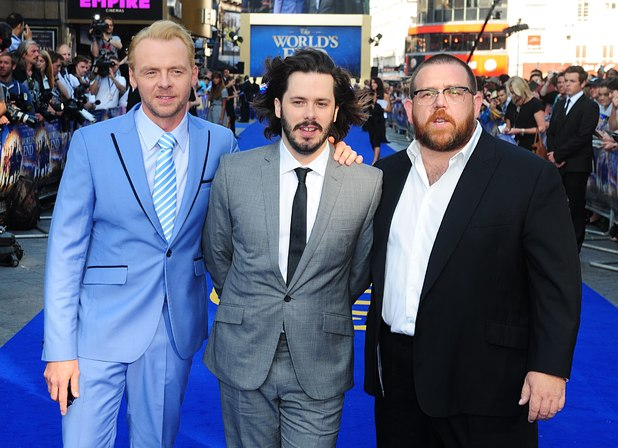 Simon Pegg, Edgar Wright and Nick Frost arriving for the world premiere of The World's End, at the Empire Leicester Square, London.