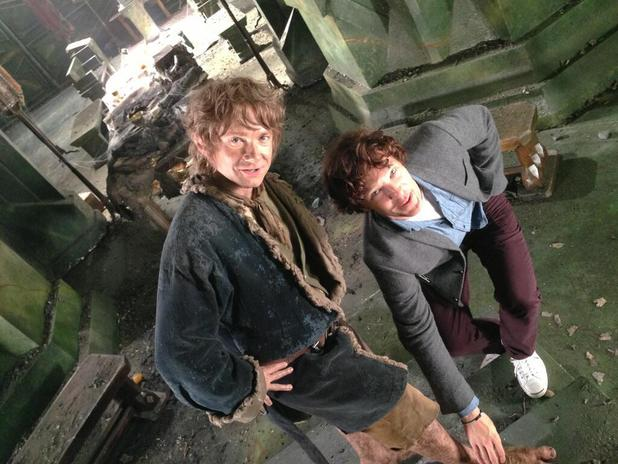 Benedict Cumberbatch and Martin Freeman reunited on 'The Hobbit' set