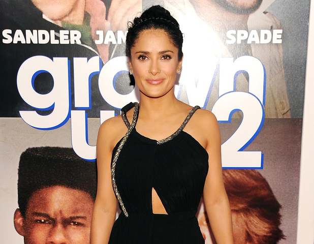"Selma Hayek attends the premiere of ""Grown Ups 2"" at the AMC Loews Lincoln Square on Wednesday, July 10, 2013 in New York"