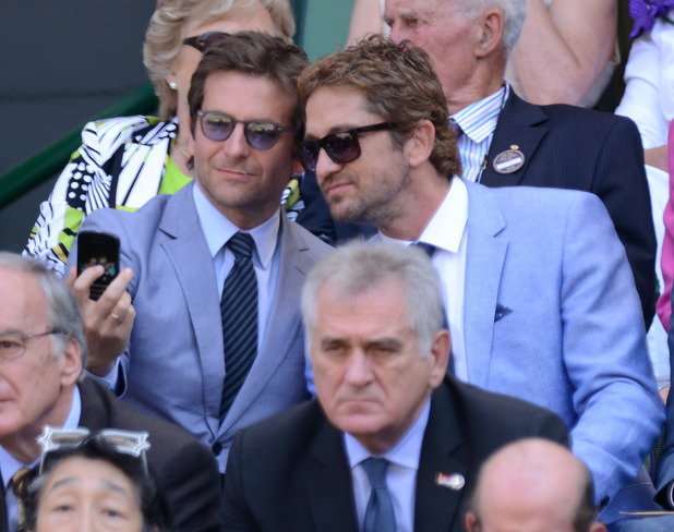 Bradley Cooper and Gerard Butler take a 'selfie' at the Wimbledon men's singles final ~~ July 7, 2013