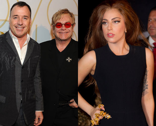 Elton John, David Furnish, Lady GaGa