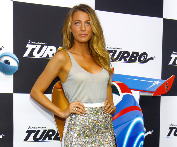 Blake Lively, Burberry dress, New York premiere of 'Turbo' held at AMC Loews Lincoln Square