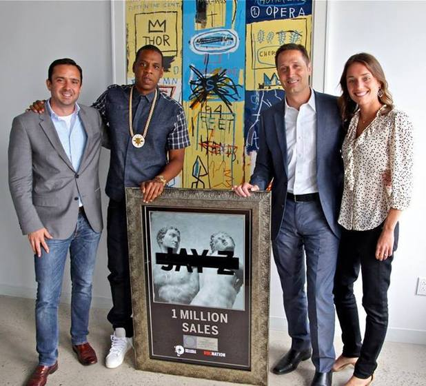 Jay-Z receives a plaque after Magna Carta Holy Grail goes platinum