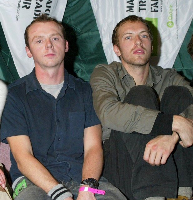 Chris Martin and Simon Pegg