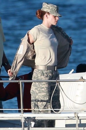 Kristen Stewart wears army uniform on the set of Camp X-Ray