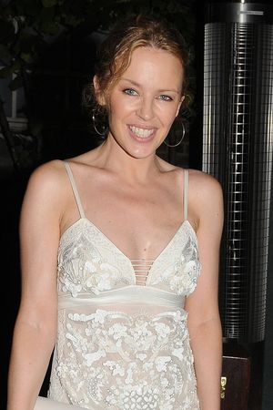 Kylie Minogue leaving the Hakkasan restaurant in London.