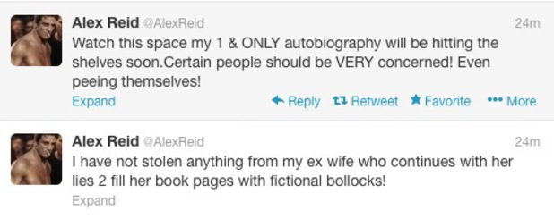 Alex Reid warns Katie Price on Twitter