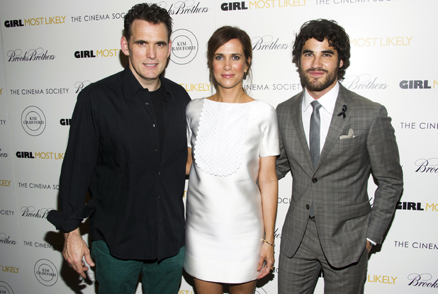 "Matt Dillon, from left, Kristen Wiig and Darren Criss attend a screening of Lionsgate & Roadside Attractions' ""Girl Most Likely"" hosted by the Cinema Society & Brooks Brothers on Monday July 15 2013"