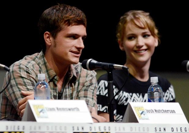 "Josh Hutcherson and Jennifer Lawrence attend the ""The Hunger Games: Catching Fire"" panel"