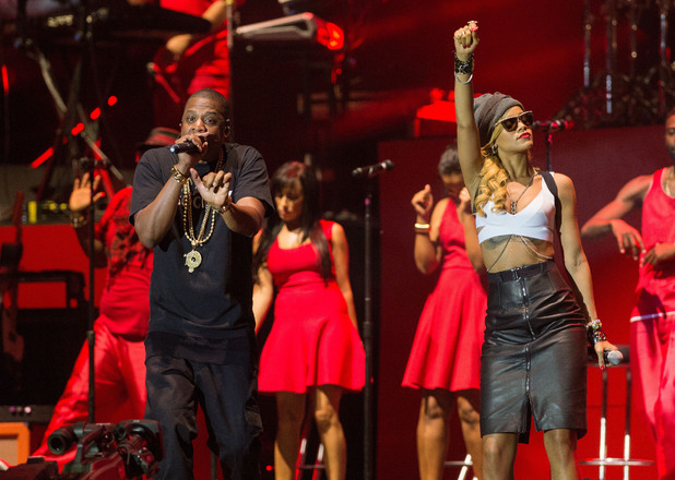 Jay-Z, Rihanna, Wireless 2013, Jay-Z and Rihanna perform on the main stage on day 3 of the Yahoo! Wireless Festival at Queen Elizabeth Olympic Park on July 14, 2013