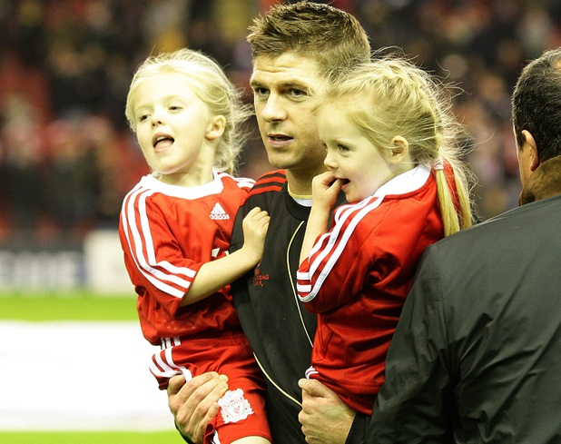 Steven Gerrard with his two children Lilly-Ella (right) and Lexie (left)