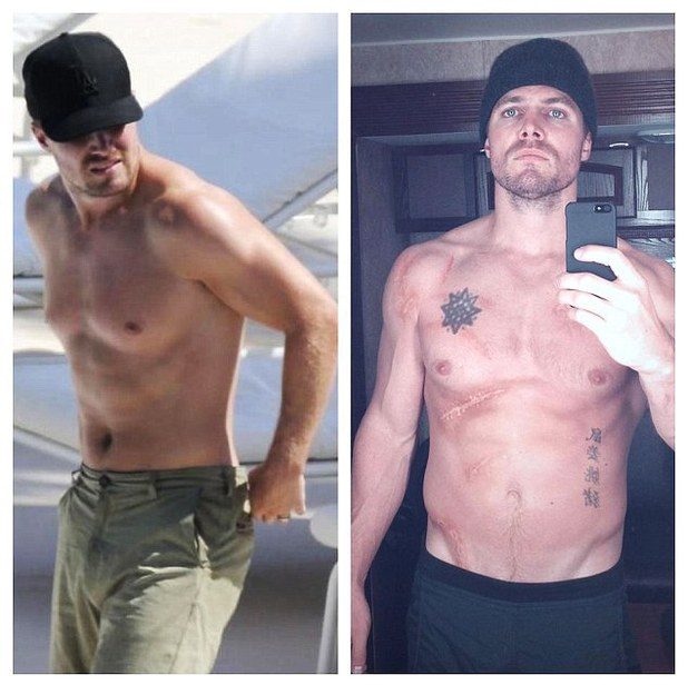 Stephen Amell, Facebook, shirtless, caption: June 13th & July 15th. No filter. It was important to enjoy my hiatus, but the picture on the left can go eff itself