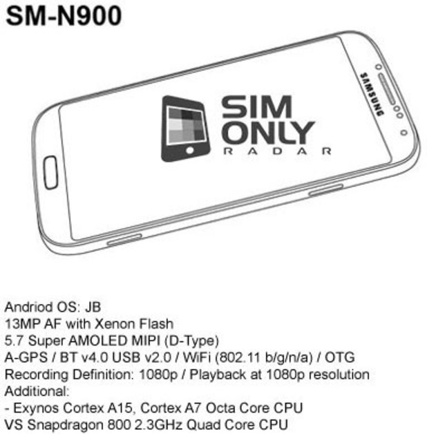 Samsung Galaxy Note 3 leaked specs sheet