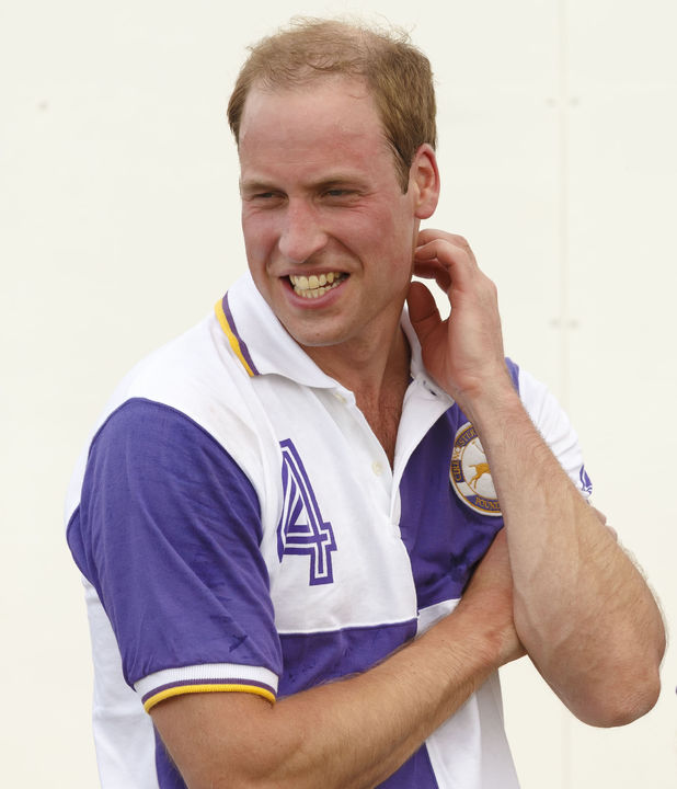 Prince William, Prince Harry in action during The Jerudong Trophy at Cirencester Park Polo Club in Cirencester, Gloucestershire.