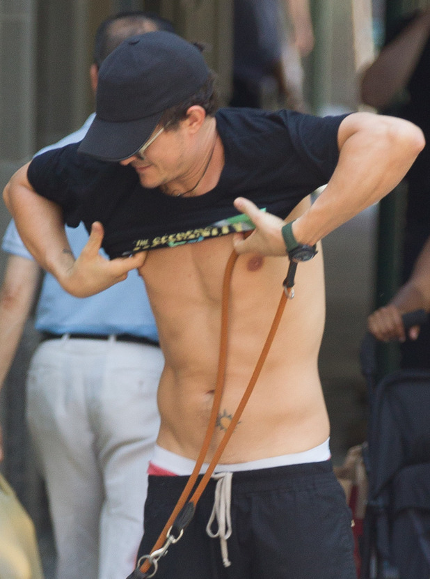 Orlando Bloom, shirtless, out and about, New York, America