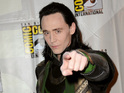 British actor addresses Hall H in full costume as Thor and Avengers villain Loki.