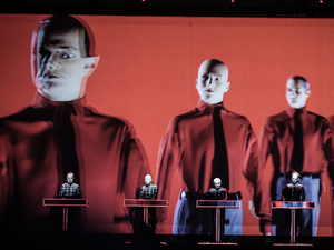 Kraftwerk performing their 3D show on day 2 of Latitude Festival 2013 in Suffolk