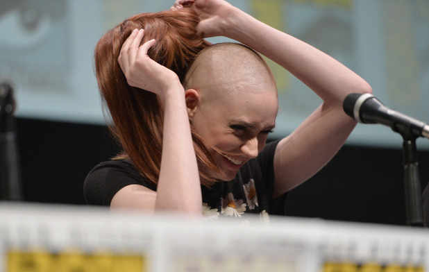 Actress Karen Gillan speaks at Marvel's 'Guardians Of The Galaxy' panel during Comic-Con International 2013 at San Diego Convention Center on July 20, 2013 in San Diego, California