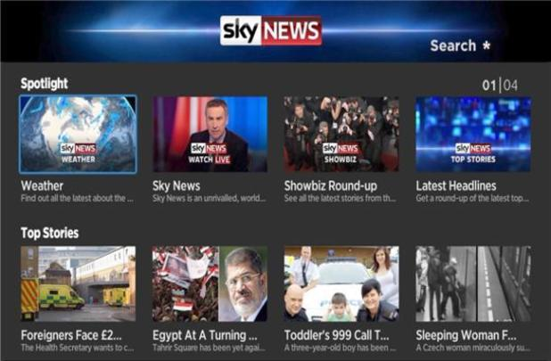 Sky News running on Roku