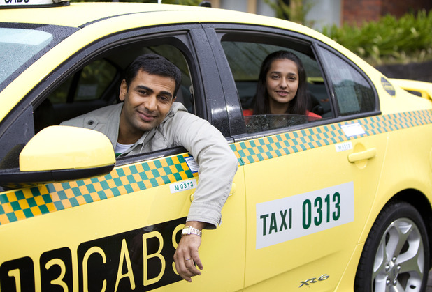 Ajay and Rani leave in a taxi