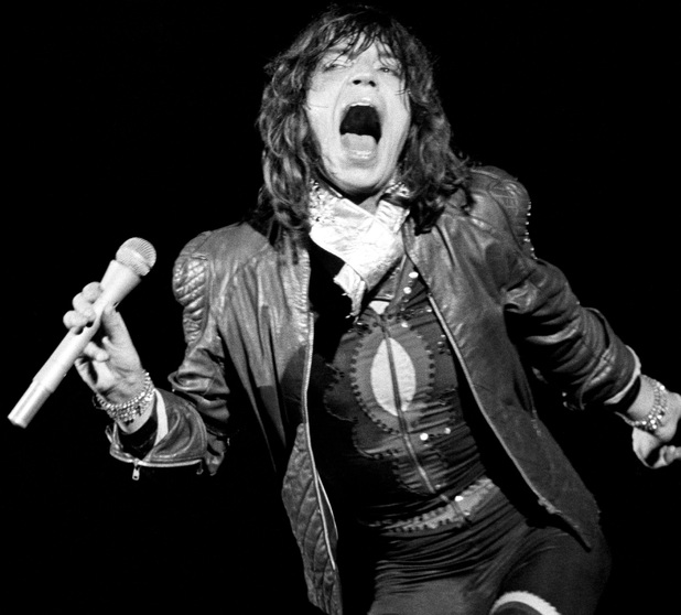 Mick Jagger of the Rolling Stones performs at an all-day concert at Knebworth Park