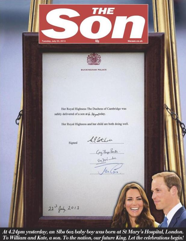 Royal baby: newspaper front pages