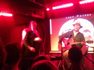Luke Haines with a Kendo Nagasaki lookalike at London's Borderline