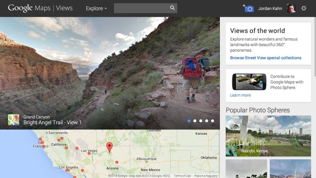 Screenshot of the Google Maps Views website