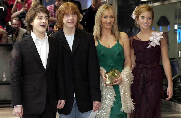 Author JK Rowling (centre right) and stars of the film Daniel Radcliffe (left), Rupert Grint and Emma Watson arrive for the UK premiere of Harry Potter And The Prisoner of Azkaban at the Odeon Leicester Square in Central London, the third film from author JK Rowling's series of books on the boy wizard.