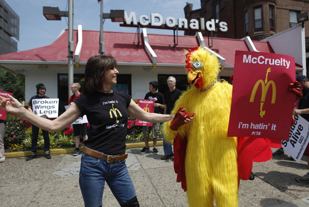 Chrissie Hynde of The Pretenders leads a PETA demonstration outside a McDonald's in Philadelphia, Thursday, May 27, 2010. Hynde protested what she believes are cruel slaughter standards for poultry at the restaurant.