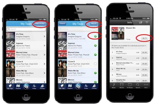 Shazam 'Select & Buy feature' on iPhone