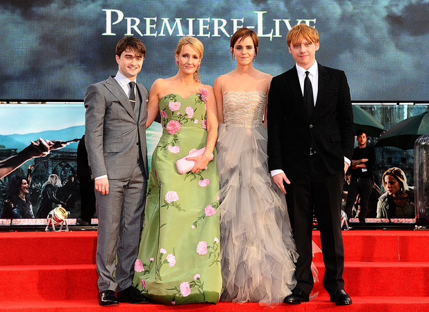 Daniel Radcliffe, JK Rowling, Emma Watson and Rupert Grint at the world premiere of Harry Potter And The Deathly Hallows: Part 2.