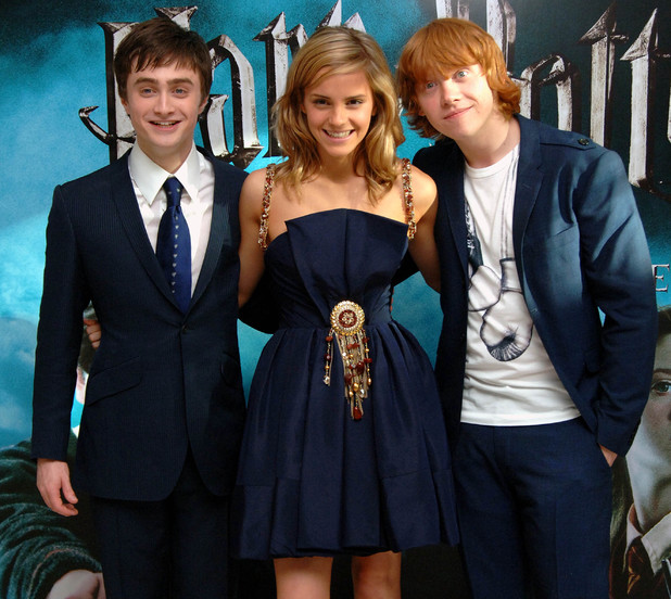 Stars of the film (L-R) Daniel Radcliffe, Emma Watson and Rupert Grint arrive for the UK Premiere of Harry Potter And The Order Of The Phoenix at the Odeon Leicester Square, central London.