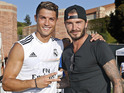 The former Real Madrid player joins up with the current team for training.