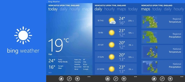Bing Weather running on Windows Phone 8