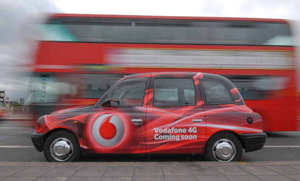 Vodafone taxi on Waterloo Bridge