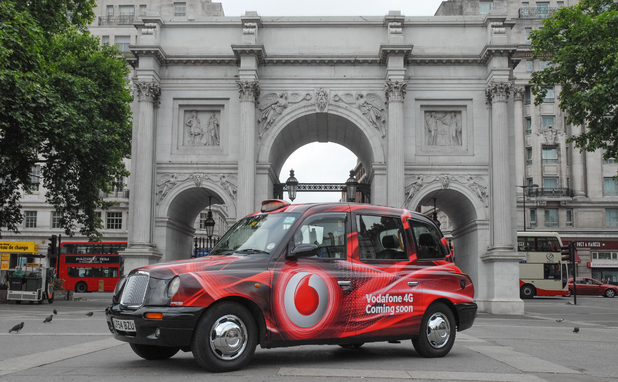 Vodafone taxi at Marble Arch