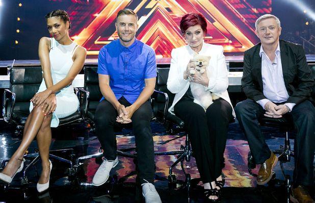 Nicole Scherzinger, Gary Barlow, Sharon Osbourne and pet dog Bella and Louis Walsh