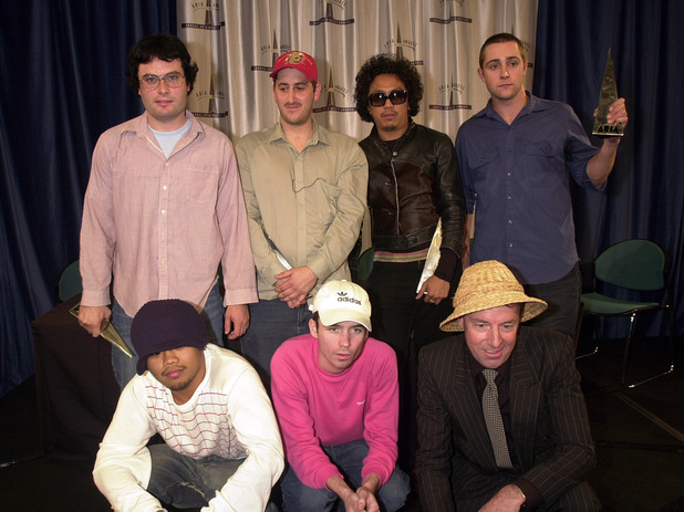 Members from the band The Avalanches in the awards room backstage at the 15th Annual ARIA Awards at the Capitol Theatre on October 03, 2001 in Sydney, Australia