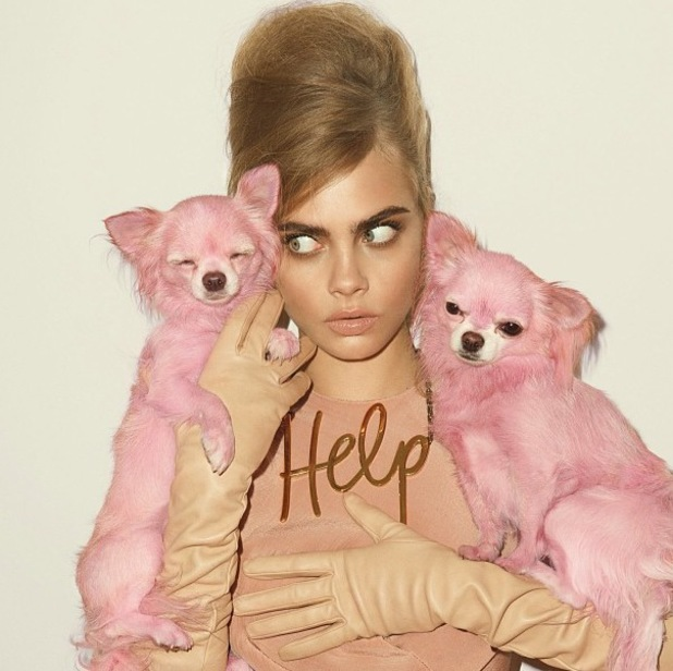 Cara Delevingne posing for Vogue