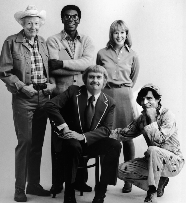 American children's television host Robert Keeshan poses with the cast of his TV series, 'Captain Kangaroo,' L-R: Hugh Brannum (Mr. Green Jeans), James Wall, Debbie Weems and Cosmo Allegretti.