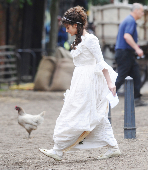 Jenna Coleman filming 'Death Comes To Pemberley' in York