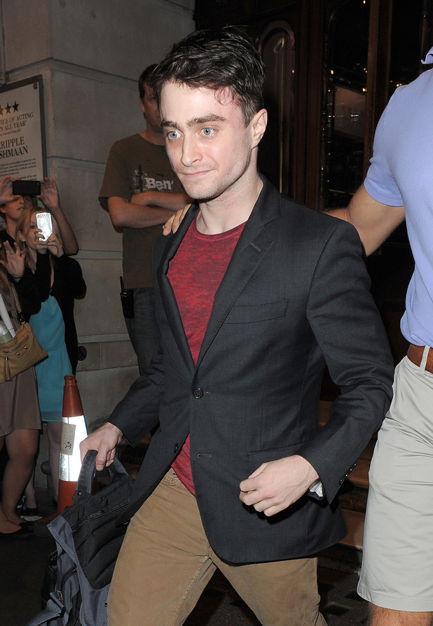 Daniel Radcliffe leaves the Noel Coward Theatre, 'The Cripple Of Inishmaan'