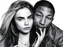Model cuddles up to the 'Blurred Lines' singer for a Vogue shoot with David Bailey.